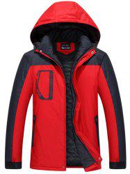 Zippered Two Tone Hooded Padded Jacket - RED 3XL