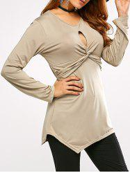 Keyhole Neck Plain Tunic T-Shirt