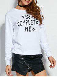 Crew Neck Text Sweatshirt - WHITE M