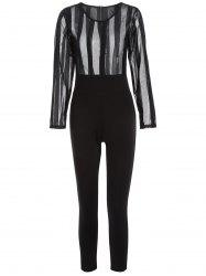Long Sleeve Sheer Mesh See-Through Jumpsuit -