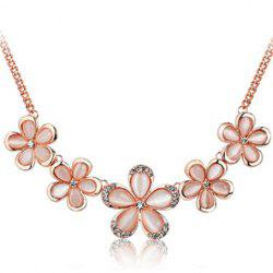 Artificial Opal Rhinestone Floral Pendant Necklace -