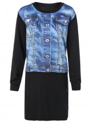 Jewel Neck 3D Jeans Vest Print Long Sleeve Dress
