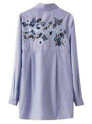 Self Tie Striped Floral Embroidered Shirt -