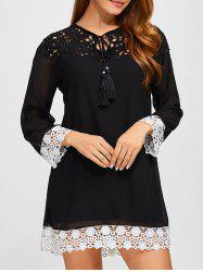 Crochet Lace Spliced Mini Shift Dress - BLACK