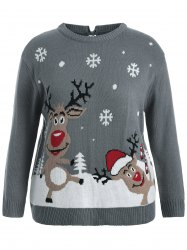 Back Bowknot Snowflake Cartoon Pattern Christmas Sweater - GRAY