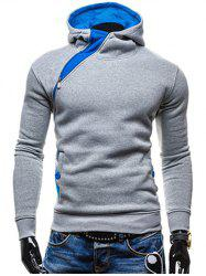 Side Zip Up Button Pocket Pullover Hoodie -