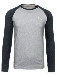 Crew Neck Raglan Sleeve Embroidered T-Shirt - DEEP GRAY
