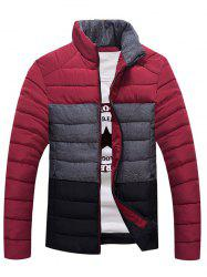Contrast Insert Stand Collar Zip Up Padded Jacket - RED L