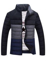 Contrast Insert Stand Collar Zip Up Padded Jacket -