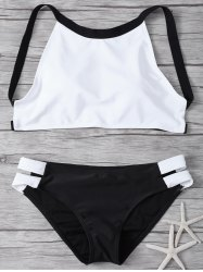Cut Out High Neck 2 Piece Swimsuit