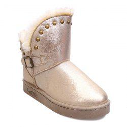 Rivet Buckle PU Leather Snow Boots