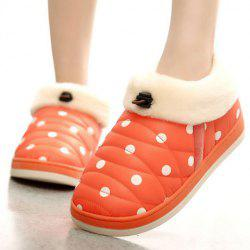 Polka Dot Fur Trim Indoor Outdoor Slippers - ORANGE RED