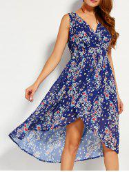 Plunging Neck High-low Printed Dress -