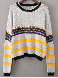 Beading Sequined Color Block Sweater