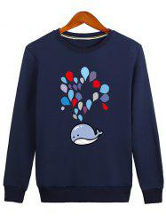 Water Drop Printed Crew Neck Sweatshirt -