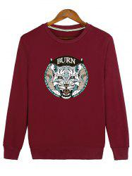 Ribbed Crew Neck Graphic Sweatshirt -