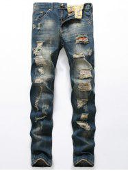 Ripped Zipper Fly Denim Jeans - BLUE
