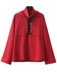 High Neck Lace Up Neck Hoodie - RED L
