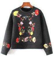 Boxy Embroidered Sweatshirt - BLACK L