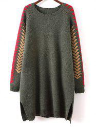 Slit Geometric Tunic Sweater Dress