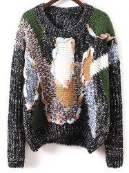 Jacquard Color Block Chunky Sweater