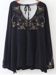 Double V Neck Embroidered Blouse