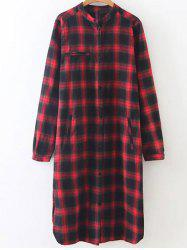 Plaid Long Slevee Flannel Shirt Dress