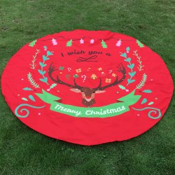 Merry Christmas Reindeer Olive Branch Print Round Beach Throw - RED