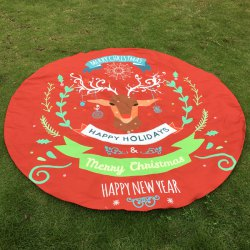 Merry Christmas Reindeer Print Round Beach Throw