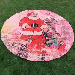 Christmas Santa Claus Sent Gifts Round Beach Throw -