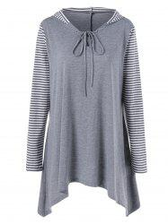 Plus Size Asymmetrical Striped Hooded T-Shirt