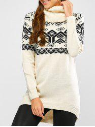Geometric Jacquard High Low Sweater