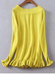 Frilled Ribbed Boat Neck Jumper