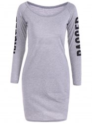 Scoop Neck Back Cutout Graphic Bodycon Dress - GRAY XL