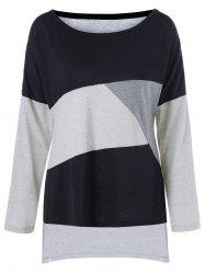 Plus Size Drop Shoulder Longline T-Shirt - BLACK AND GREY