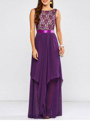 Lace Panel Chiffon Formal Bridesmaid Prom Dress - PURPLE