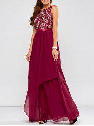 Lace Panel Chiffon Maxi Evening Formal Bridesmaid Prom Dress - WINE RED
