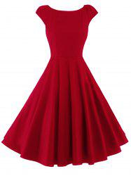 A Line Puffer Cap Sleep Prom Dress - RED
