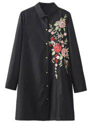 Button Down Floral Embroidered Shirt Dress - BLACK L