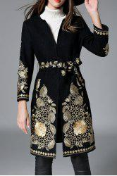 Floral Embroidered Belted Coat -