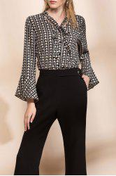 Tie Collar Printed Bell Sleeve Blouse