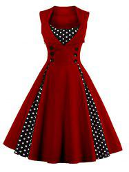Polka Dot Retro Corset A Line Dress - WINE RED S