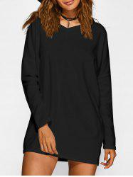 V Neck Long Sleeve Short Sweater Dress - BLACK
