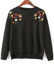 High-Low Loose Embroidered Sweater -