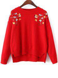 High-Low Loose Embroidered Sweater - RED