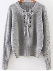 Lace Up Ribbed Pullover Sweater - GRAY