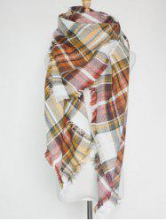 Outdoor Plaid Print Fringed Square Blanket Shawl Scarf