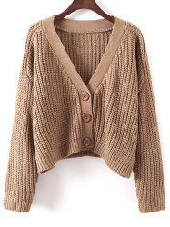V Neck Cropped Chunky Cardigan -