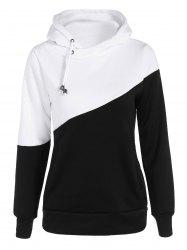 Color Block Long Sleeve Drawstring Hoodie
