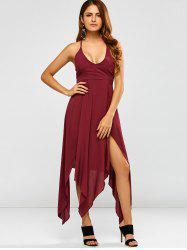 Deep V Neck Strappy Maxi Hankerchief Dress